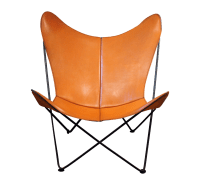 Mid-Century Leather Butterfly Chair | Chairish