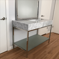 Mid-Century Modern Marble Bathroom Vanity with Chrome ...