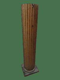 Oak Wood Fluted Column Floor Lamp | Chairish