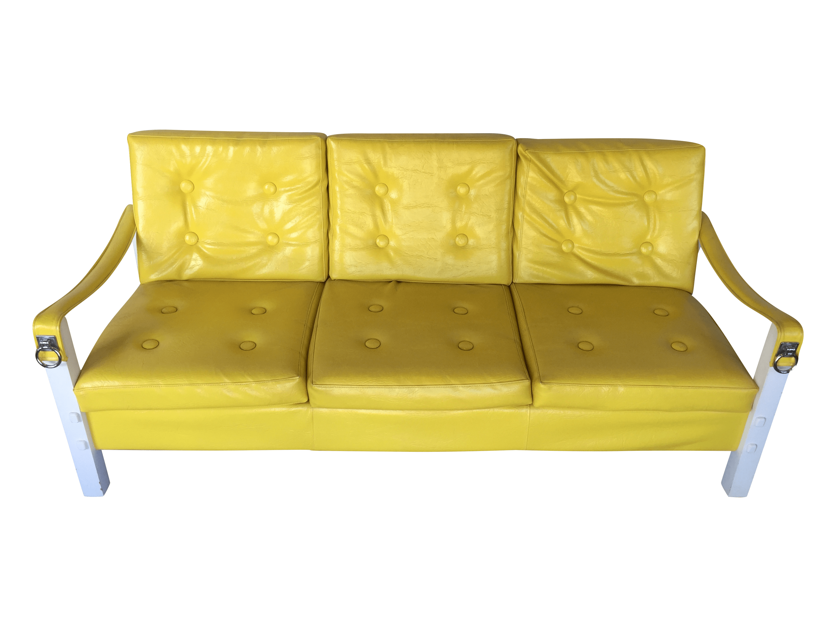 Retro Orange Vinyl Sofa Vintage Lemon Yellow Vinyl Sofa | Chairish