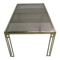 Mid-Century Brass Smoke Glass Expanding Dining Table ...