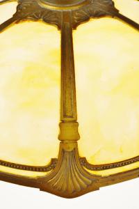 Art Deco Brass and Slag Glass Pendant Swag Chandelier ...