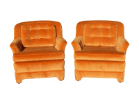 Mid Century Tufted Orange Velvet Accent Chairs - a Pair by ...
