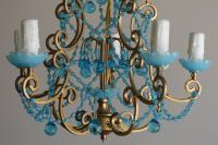 Crystal Beaded Chandelier with Blue Crystals | Chairish