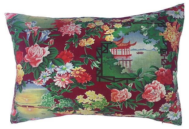 1940s Chinese Floral Fabric With Pagoda Pillow Chairish