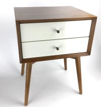 West Elm Mid-Century Style Two-Tone Nightstand Side Table ...