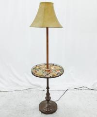 Vintage Floor Lamp With Side Table | Chairish