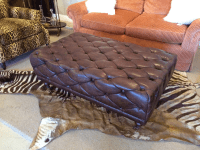 Brown Tufted Leather Rectangular Ottoman | Chairish