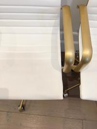 Eames-Style White and Gold Desk Chair | Chairish