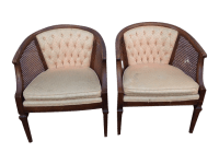 Vintage Mid Century Cane Barrel Back Chairs - 2 | Chairish