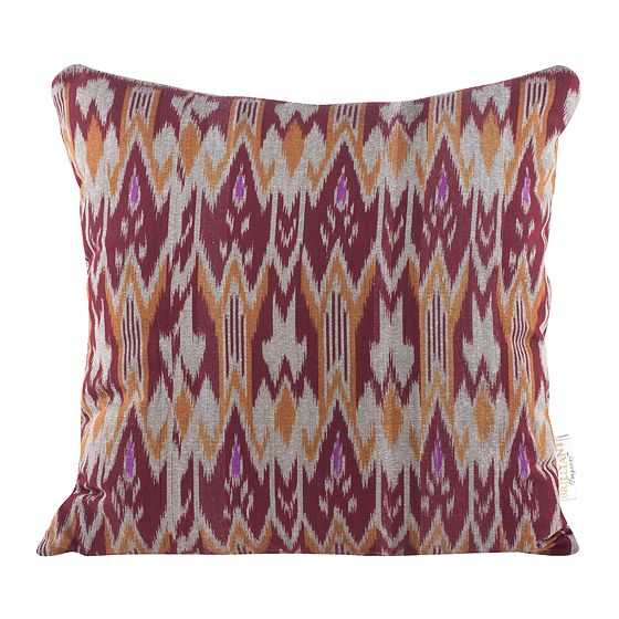 Burgundy Orange Zig Zag Ikat Throw Pillow Chairish