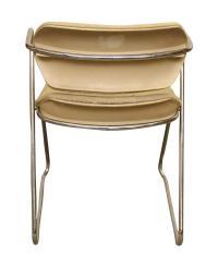 Unique Bent Metal White Vinyl Mid-Century Desk Chair ...