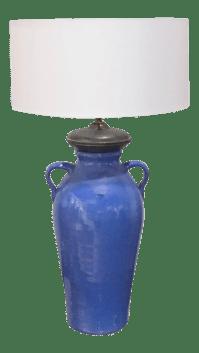 Antique Blue Pottery Lamp | Chairish