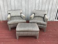 Mid-Century Upholstered Lounge Chairs With Ottoman - Set ...
