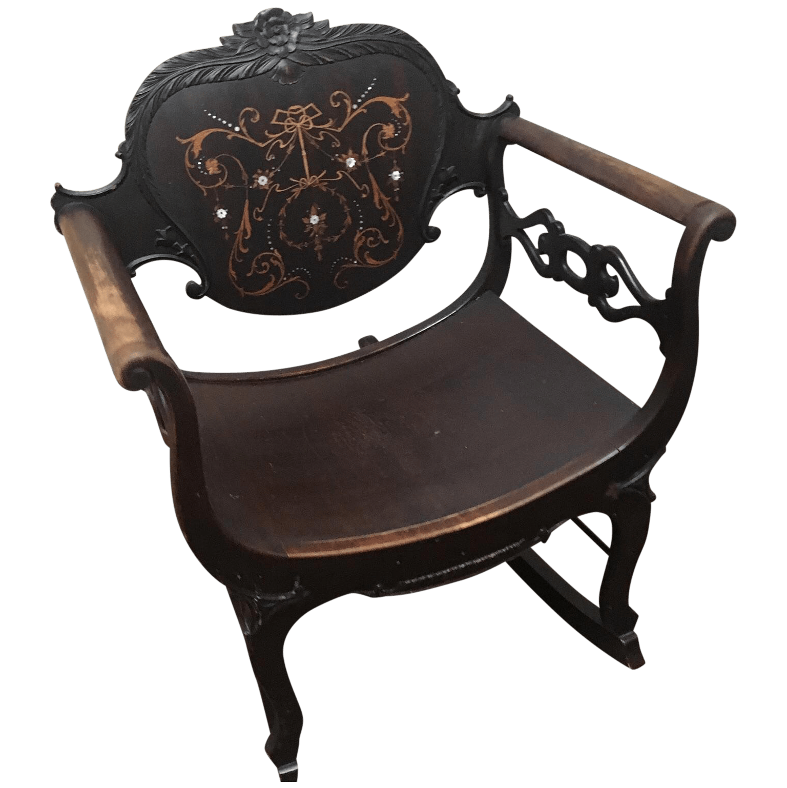 French Victorian Mother Of Pearl Rocking Chair Chairish