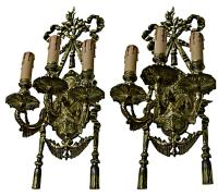 Spanish Style 3-Arm Bronze Sconces - Pair | Chairish