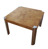 Milo Baughman Burl Wood & Chrome Side Table | Chairish