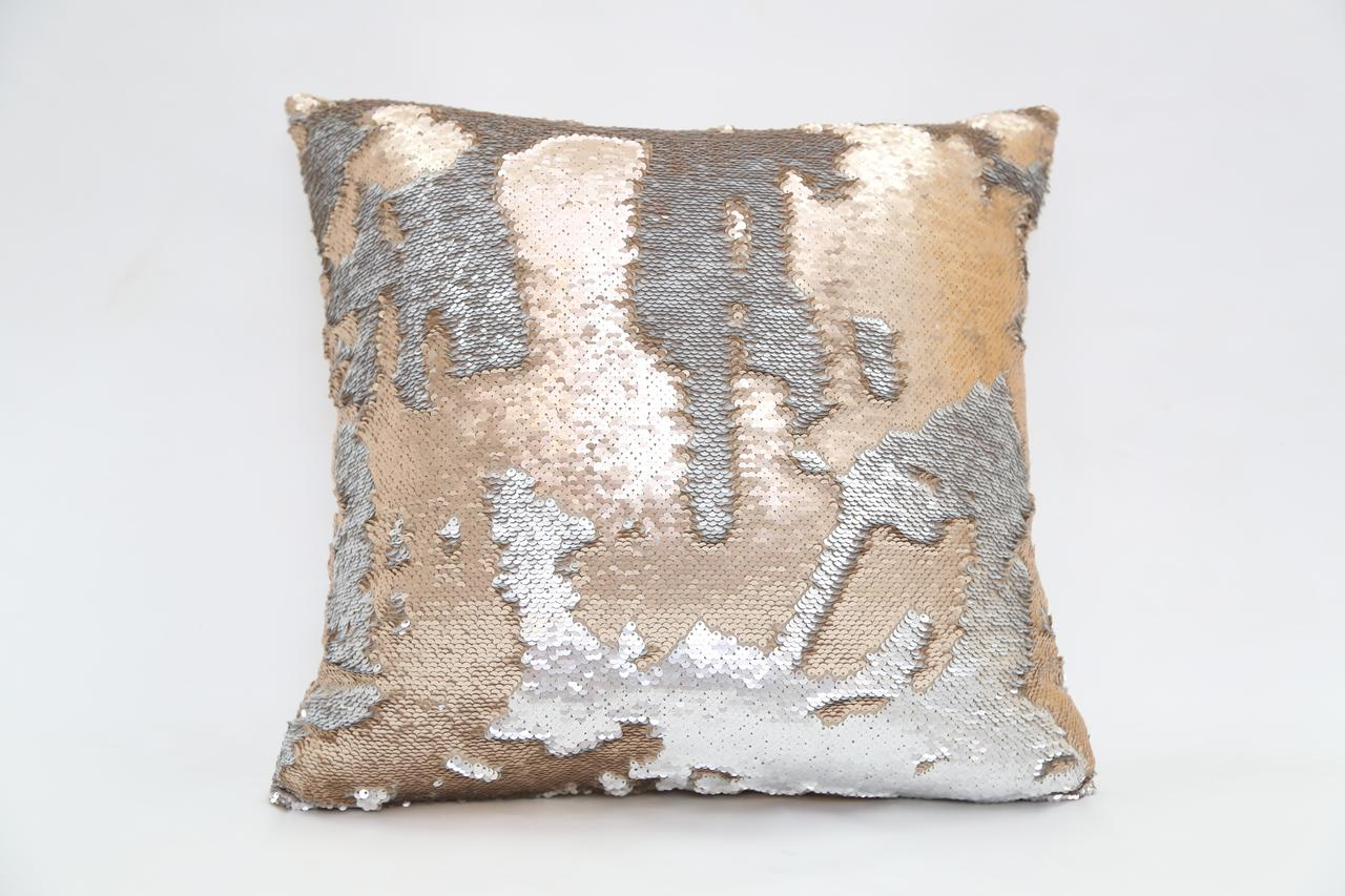 Gold & Silver Sequin Decorative Pillow