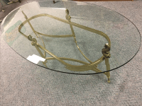 Glass and Solid Brass Oval Coffee Table | Chairish