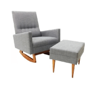 Mid Century Modern Style Rocking Chair and Ottoman | Chairish