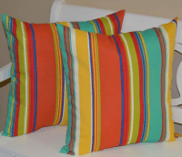 Coral, Turquoise & Yellow Striped Pillows - A Pair | Chairish