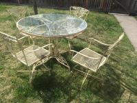 Vintage Woodard Wrought Iron Patio Set - Set of 5 | Chairish