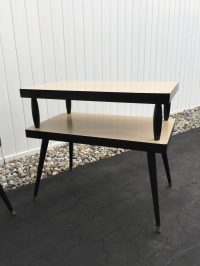 Mid-Century Two Tiered Formica End Tables - A Pair | Chairish