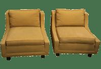 MasterCraft Mid-Century Low Profile Chairs - Pair | Chairish