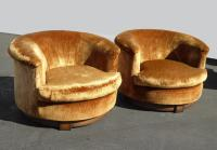 Vintage Mid Century Orange Velvet Swivel Club Chairs ...