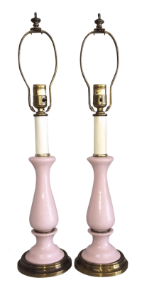 Paul Hanson Vintage Pink Ceramic Lamps - Pair | Chairish