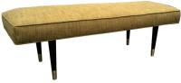 Mid-Century Modern Green Upholstered Bench | Chairish