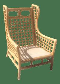 Vintage Rattan Wing Chair   Chairish