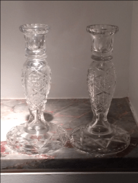 Antique ABP Cut Crystal Candlestick Holders - 2 | Chairish