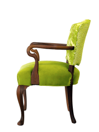 Upholstered Green Velvet Occasional Chair | Chairish