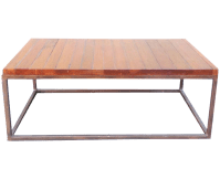 Minimalist Wooden Slat Coffee Table | Chairish