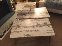 Mid-Century Formica Marble End Tables - A Pair | Chairish