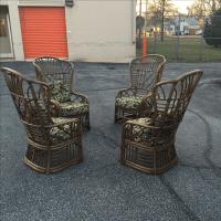 Rattan Fretwork Bamboo Wing Chairs- Set of 4   Chairish