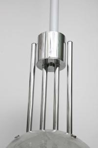 Mid-Century Modern Chrome and Glass Pendant Light Fixture ...