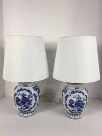 Blue & White Porcelain Table Lamps - A Pair | Chairish