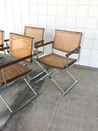 Mid-Century Faux Bamboo & Chrome Directors Chairs   Chairish