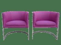 Chrome Cantilever Barrel Chairs - A Pair   Chairish