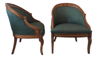 Vintage Upholstered Barrel Chairs - A Pair | Chairish