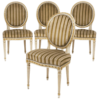Louis XVI Gold Leaf Striped Velvet Dining Chairs - Set of ...
