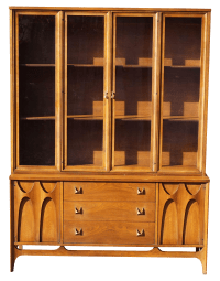 Broyhill Brasilia Mid-Century Walnut China Cabinet | Chairish