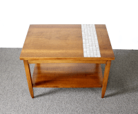 Lane Mid-Century Tile & Wood End Table | Chairish