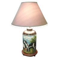 Hand Painted Dog Scene Lamp With Shade | Chairish