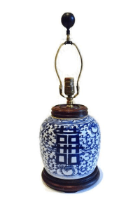 Antique Ginger Jar Double Happiness Table Lamp | Chairish