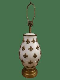 White and Gold Fleur De Lis Lamp   Chairish