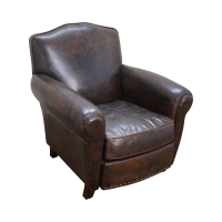 Vintage Distressed Brown Leather Club Chair | Chairish