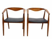 Danish Barrel Teak Armchairs - A Pair | Chairish